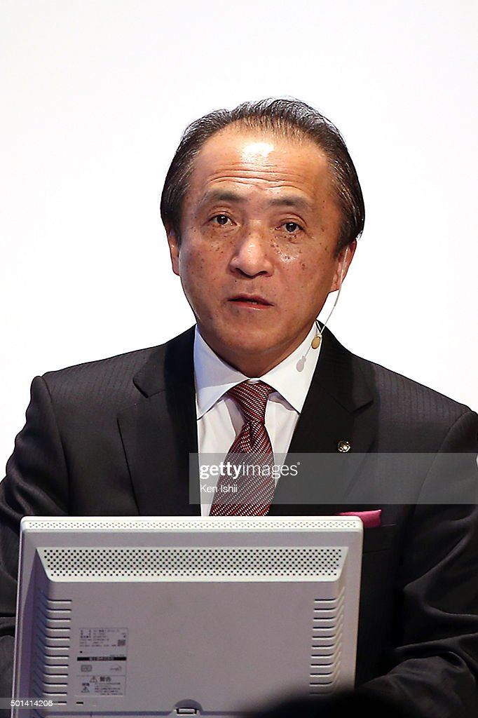 Hiroyuki Yanagi, President, Chief Executive Officer and Representative Director of Yamaha Motor Co., LTD announces their new medium-term business plan for three-year period 2016-2018 on December 15, 2015 in Tokyo, Japan. The plan targets the net sales of two trillion yen and an operating income ratio of 10 percent by 2018.