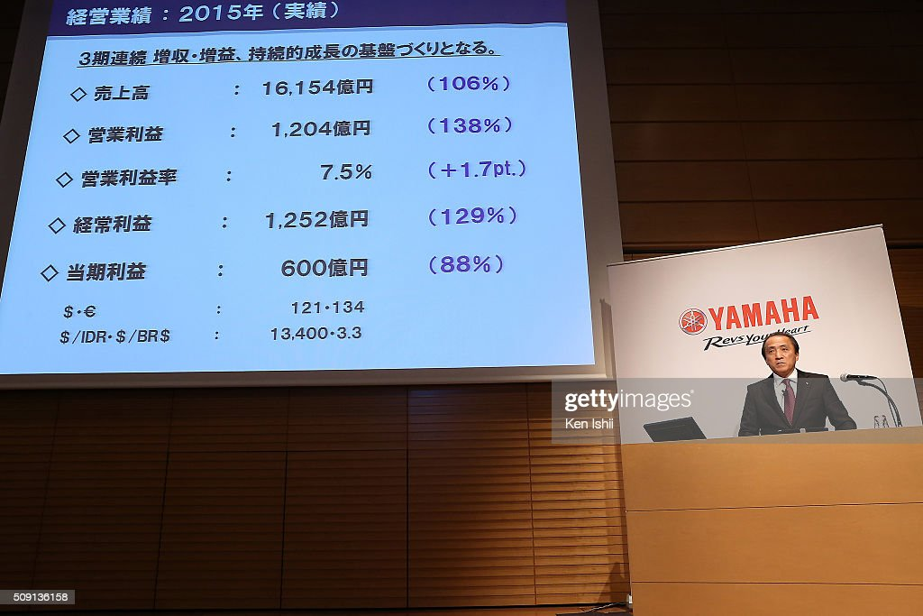 <a gi-track='captionPersonalityLinkClicked' href=/galleries/search?phrase=Hiroyuki+Yanagi&family=editorial&specificpeople=2322752 ng-click='$event.stopPropagation()'>Hiroyuki Yanagi</a>, President, Chief Executive Officer and Representative Director of Yamaha Motor Co., Ltd. announces their consolidated fiscal business results of 2015 at the the Meiji Yasuda Seimei Building on February 9, 2016 in Tokyo, Japan. The operating income for the fiscal year ended on December 31, 2015 for the company rose 38.0 percent to 120.4 billion yen, and net sales rose 6.2 percent to 1,615.4 billion yen.