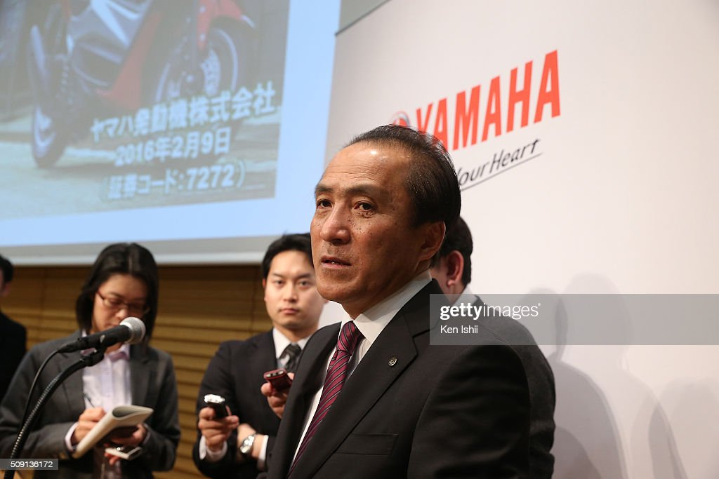 Hiroyuki Yanagi, President, Chief Executive Officer and Representative Director of Yamaha Motor Co., Ltd. speaks to the media after announces their consolidated fiscal business results of 2015 at the the Meiji Yasuda Seimei Building on February 9, 2016 in Tokyo, Japan. The operating income for the fiscal year ended on December 31, 2015 for the company rose 38.0 percent to 120.4 billion yen, and net sales rose 6.2 percent to 1,615.4 billion yen.