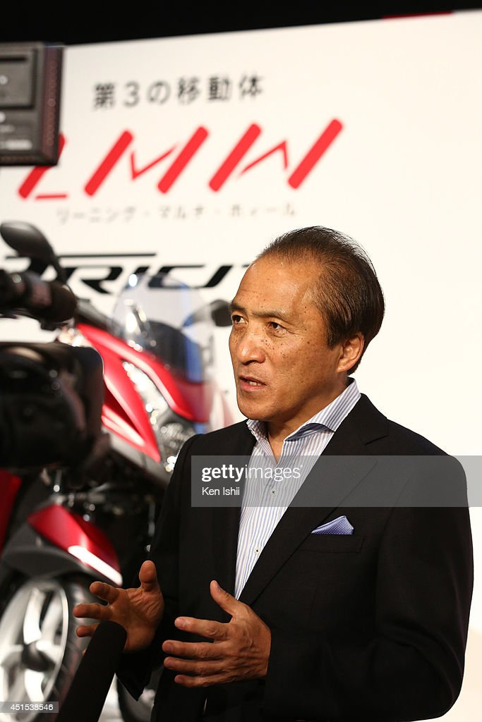 Hiroyuki Yanagi, president of YAMAHA MOTOR, speaks to the media at the YAMAHA TRICITY launch and test-ride event at UDX on July 1, 2014 in Akihabara, Tokyo, Japan.