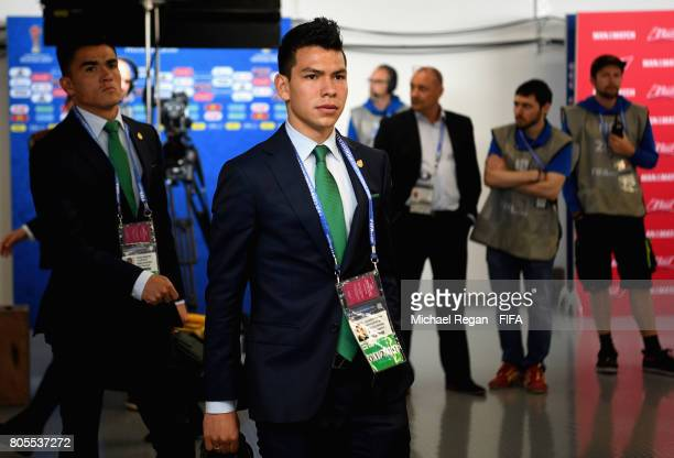 Hirving Lozano of Mexico arrives at the stadium prior to the FIFA Confederations Cup Russia 2017 PlayOff for Third Place between Portugal and Mexico...