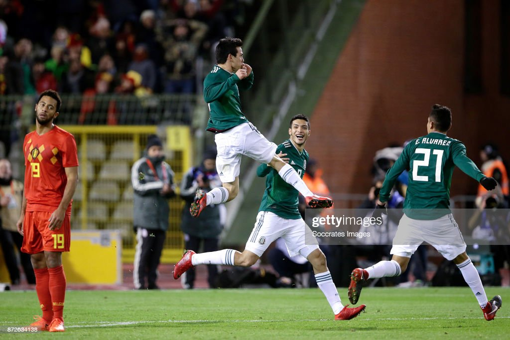 Hirving Lozano of Mexico celebrates 2-3 with Raul Jimenez of Mexico, Edson Alvarez of Mexico during the International Friendly match between Belgium v Mexico at the Koning Boudewijnstadion on November 10, 2017 in Brussel Belgium