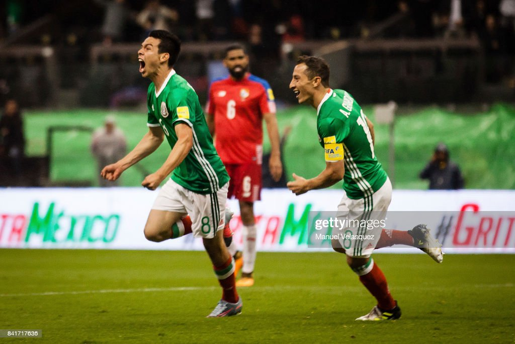 Hirving Lozano of Mexico celebrates after scoring the first goal of his team during the match between Mexico and Panama as part of the FIFA 2018 World Cup Qualifiers at Estadio Azteca on September 1, 2017 in Mexico City, Mexico.