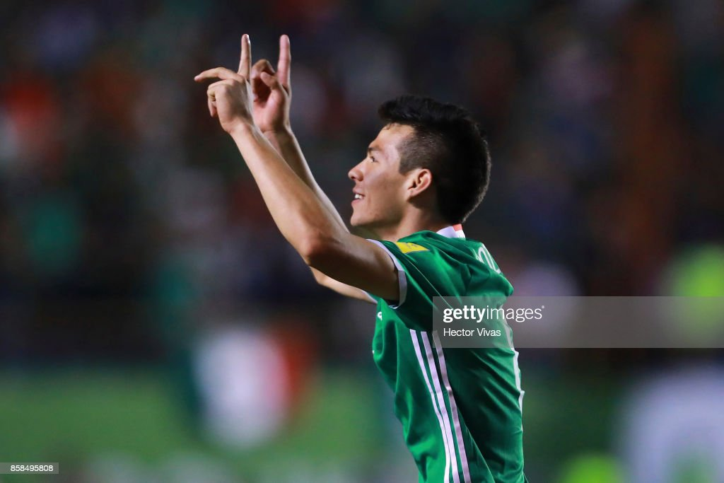 Hirving Lozano of Mexico celebrates after scoring the first goal of his team during the match between Mexico and Trinidad & Tobago as part of the FIFA 2018 World Cup Qualifiers at Alfonso Lastras Stadium on October 6, 2017 in San Luis Potosi, Mexico.
