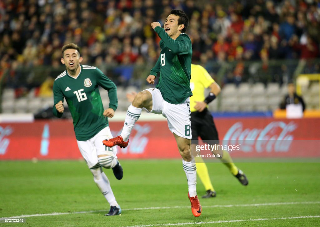 Hirving Lozano of Mexico celebrates his first goal with Hector Herrera during the international friendly match between Belgium (Red Devils) and Mexico at King Baudouin Stadium (Stade Roi Baudouin) on November 10, 2017 in Brussels, Belgium.