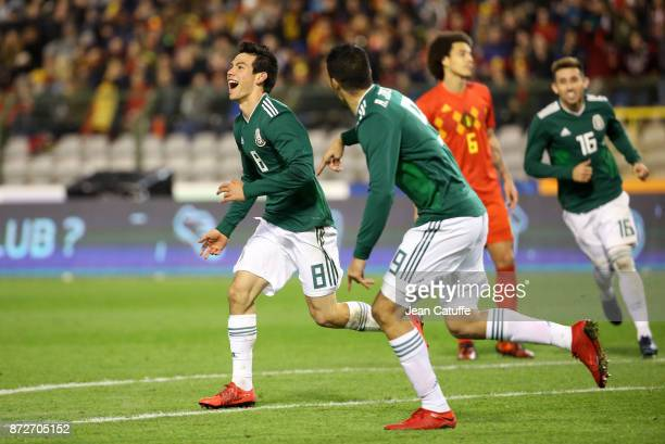 Hirving Lozano of Mexico celebrates his second goal during the international friendly match between Belgium and Mexico at King Baudouin Stadium on...