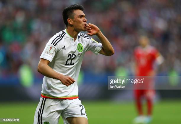Hirving Lozano of Mexico celebrates scoring his sides second goal during the FIFA Confederations Cup Russia 2017 Group A match between Mexico and...