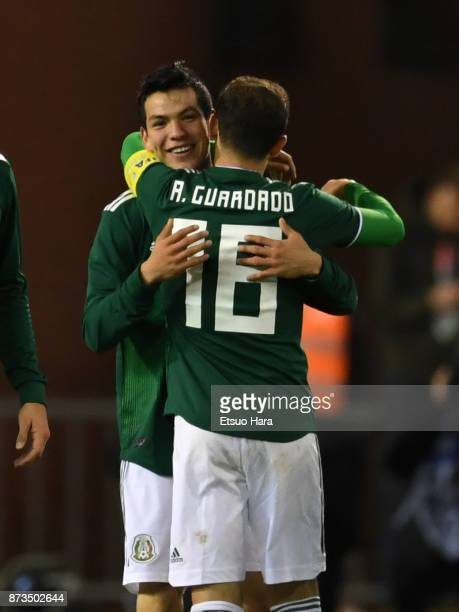 Hirving Lozano of Mexico celebrates scoring his side's third goal during the international friendly match between Belgium and Mexico at King Baudouin...