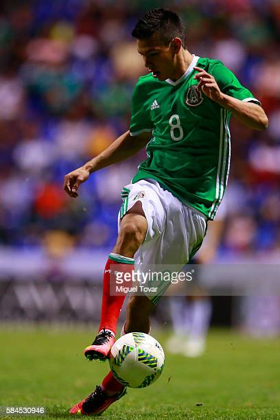 Hirving Lozano of Mexico controls the ball during an U23 International Friendly between Mexico and Argentina at Cuauhtemoc Stadium on July 28 2016 in...