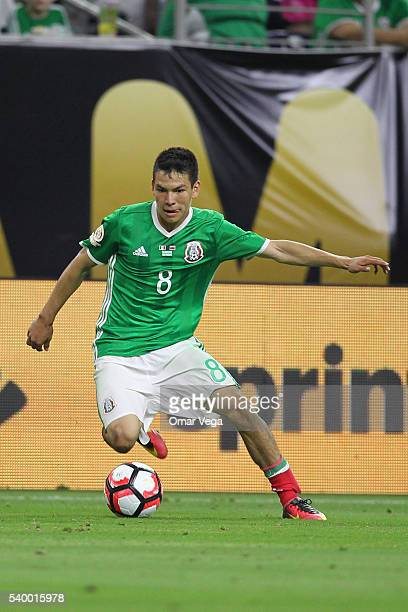 Hirving Lozano of Mexico drives the ball during a group C match between Mexico and Venezuela at NRG Stadium as part of Copa America Centenario US...
