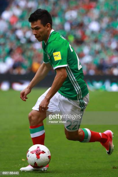 Hirving Lozano of Mexico drives the ball during the match between Mexico and The United States as part of the FIFA 2018 World Cup Qualifiers at...
