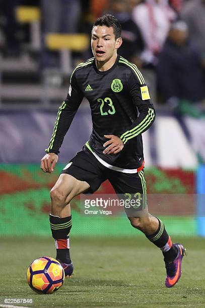 Hirving Lozano of Mexico drives the ball during the match between USA and Mexico as part of FIFA 2018 World Cup Qualifiers at MAPFRE Stadium on...