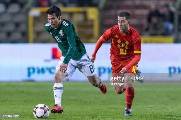 Hirving Lozano of Mexico Eden Hazard of Belgium during the friendly match between Belgium and Mexico on November 10 2017 at the Koning Boudewijn...