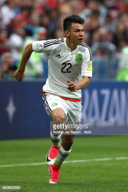 Hirving Lozano of Mexico in action during the FIFA Confederations Cup Russia 2017 Group A match between Mexico and Russia at Kazan Arena on June 24...