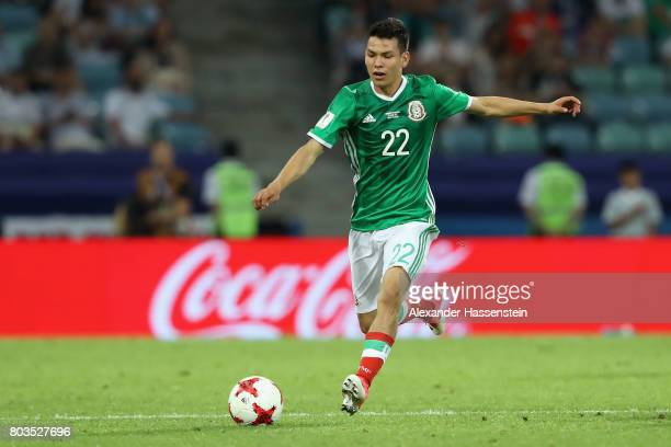 Hirving Lozano of Mexico in action during the FIFA Confederations Cup Russia 2017 SemiFinal between Germany and Mexico at Fisht Olympic Stadium on...
