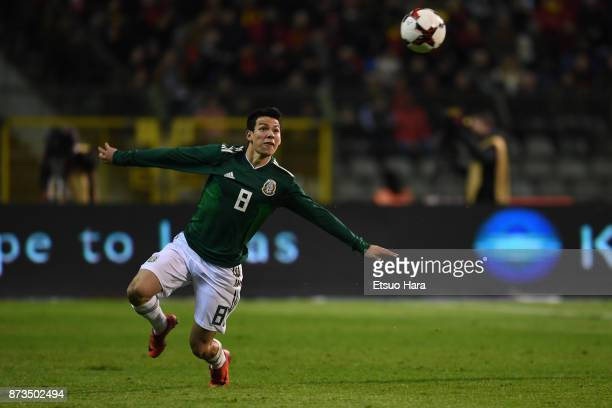 Hirving Lozano of Mexico in action during the international friendly match between Belgium and Mexico at King Baudouin Stadium on November 10 2017 in...