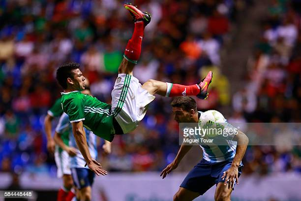 Hirving Lozano of Mexico is fouled by Lisandro Magallan of Argentina during an U23 International Friendly between Mexico and Argentina at Cuauhtemoc...
