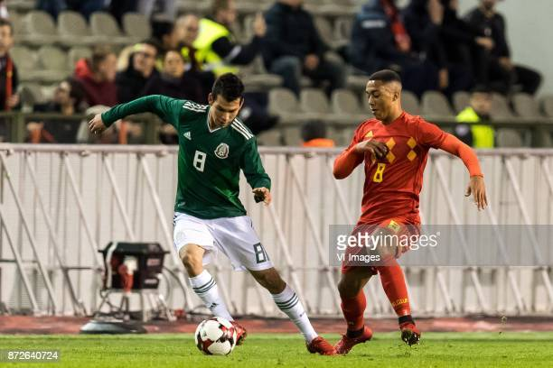 Hirving Lozano of Mexico Youri Tielemans of Belgium during the friendly match between Belgium and Mexico on November 10 2017 at the Koning Boudewijn...