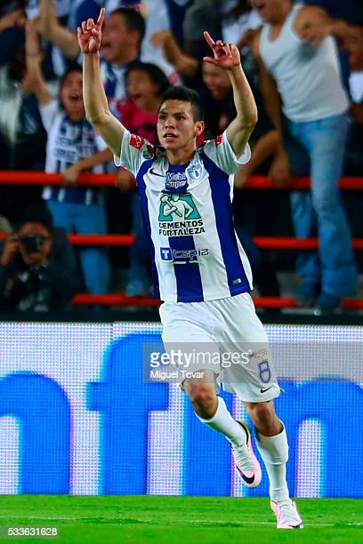 Hirving Lozano of Pachuca celebrates after scoring the second goal of his team during the semi finals first leg match between Pachuca and Leon as...