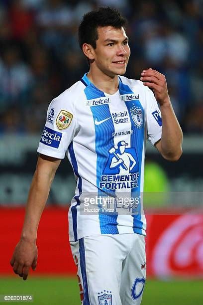 Hirving Lozano of Pachuca reacts during the quarter finals second leg match between Pachuca and Necaxa as part of the Torneo Apertura 2016 Liga MX at...
