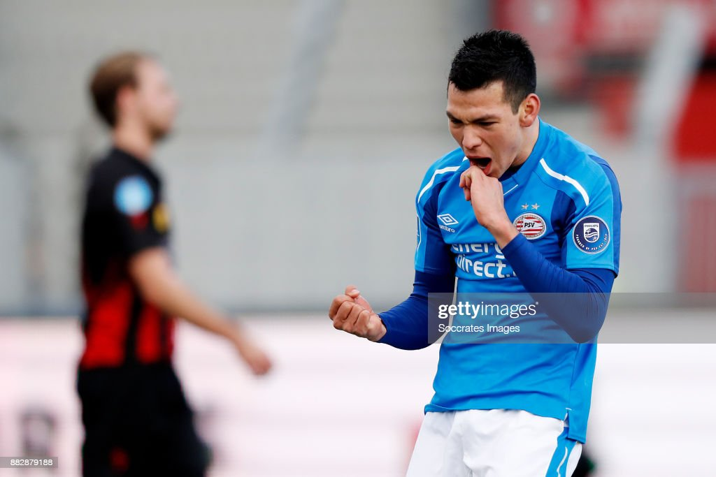 Hirving Lozano of PSV celebrates 0-2 during the Dutch Eredivisie match between Excelsior v PSV at the Van Donge & De Roo Stadium on November 26, 2017 in Rotterdam Netherlands
