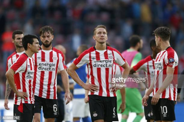 Hirving Lozano of PSV Davy Propper of PSV Luuk de Jong of PSV Marco van Ginkel of PSV during the UEFA Europa League third qualifying round first leg...