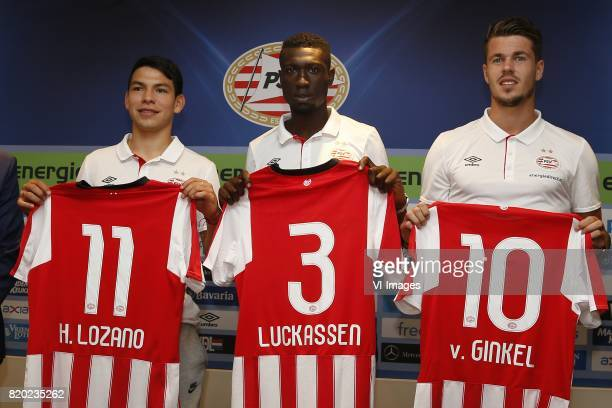 Hirving Lozano of PSV Derrick Luckassen of PSV Marco van Ginkel of PSV during the presentation of the new PSV players on July 21 2017 at Philips...
