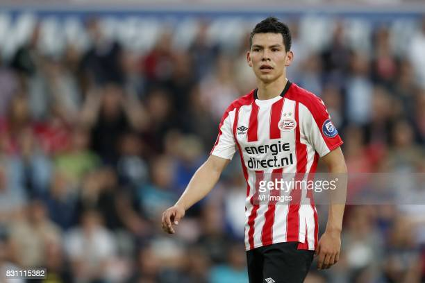 Hirving Lozano of PSV during the Dutch Eredivisie match between PSV Eindhoven and AZ Alkmaar at the Phillips stadium on August 12 2017 in Eindhoven...