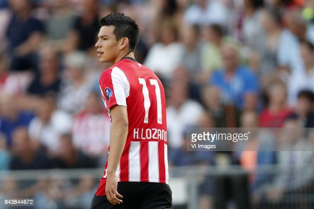 Hirving Lozano of PSV during the Dutch Eredivisie match between PSV Eindhoven and Roda JC Kerkrade at the Phillips stadium on August 27 2017 in...