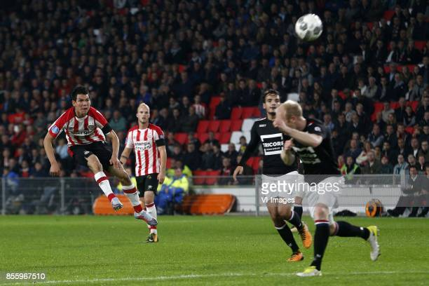 Hirving Lozano of PSV during the Dutch Eredivisie match between PSV Eindhoven and Willem II at the Phillips stadium on September 30 2017 in Eindhoven...