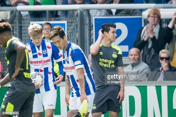 Hirving Lozano of PSV during the Dutch Eredivisie match between sc Heerenveen and PSV Eindhoven at Abe Lenstra Stadium on September 10 2017 in...