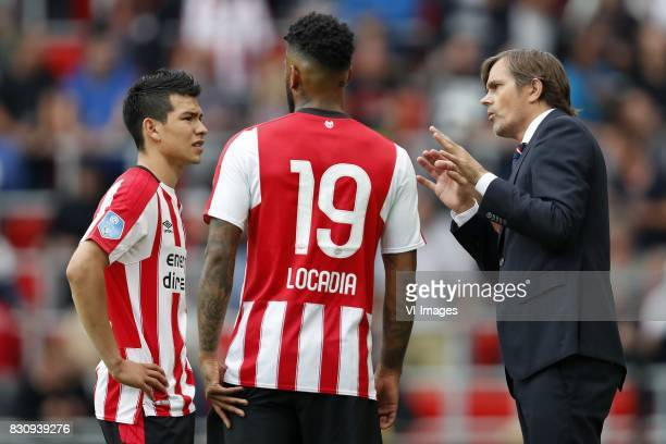 Hirving Lozano of PSV Jurgen Locadia of PSV coach Phillip Cocu of PSV during the Dutch Eredivisie match between PSV Eindhoven and AZ Alkmaar at the...