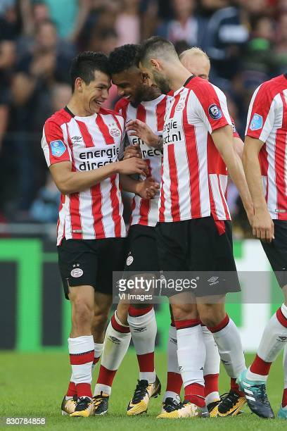 Hirving Lozano of PSV Jurgen Locadia of PSV Gaston Pereiro of PSV during the Dutch Eredivisie match between PSV Eindhoven and AZ Alkmaar at the...