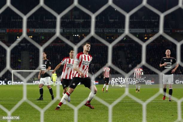 Hirving Lozano of PSV Marco van Ginkel of PSV during the Dutch Eredivisie match between PSV Eindhoven and Willem II at the Phillips stadium on...