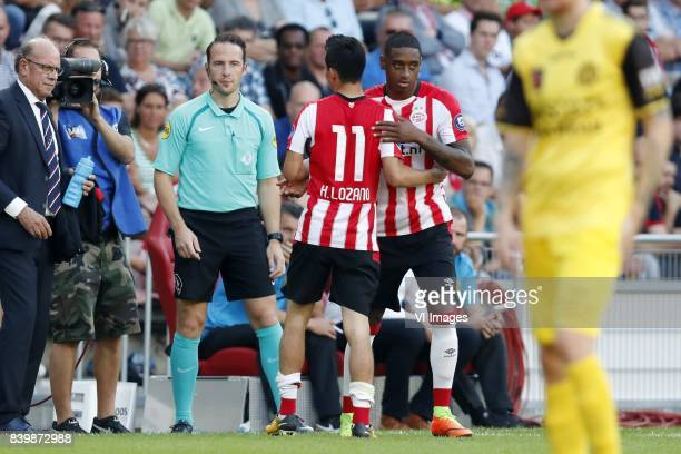 Hirving Lozano of PSV Pablo Rosario of PSV during the Dutch Eredivisie match between PSV Eindhoven and Roda JC Kerkrade at the Phillips stadium on...