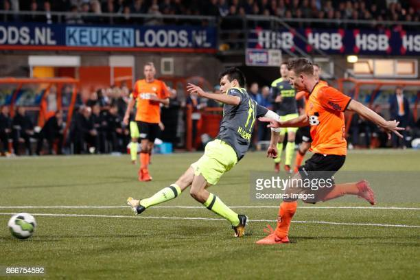 Hirving Lozano of PSV scores his sideÃs second goal to make it 02 during the Dutch KNVB Beker match between FC Volendam v PSV at the Kras Stadium on...