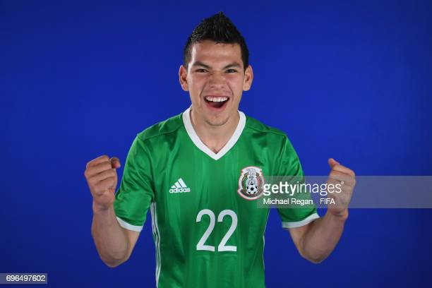 Hirving Lozano poses during filming on June 14 2017 in Kazan Russia