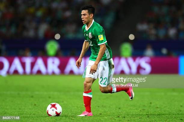 Hirzing Lozano of Mexico in action during the FIFA Confederations Cup Russia 2017 SemiFinal between Germany and Mexico at Fisht Olympic Stadium on...