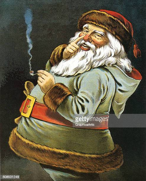 His Dimples How Merry' illustration by William Roger Snow depicting Santa Claus smoking a pipe c 1915