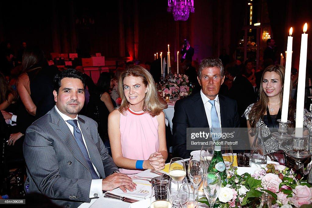 His Excelence ambassador of Qatar Meshal Al Thani Arielle de Rothschild Dominique Desseigne and Eva Al Thani attend the Grand Bal de Deauville For...