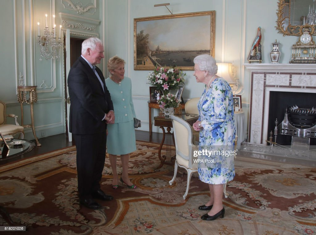 His Excellency David Johnston, Governor-General of Canada, and his wife Sharon Johnston during a private audience with Queen Elizabeth II at Buckingham Palace where he relinquished his appointment as Governor-General of Canada on July 18, 2017 in London, England.