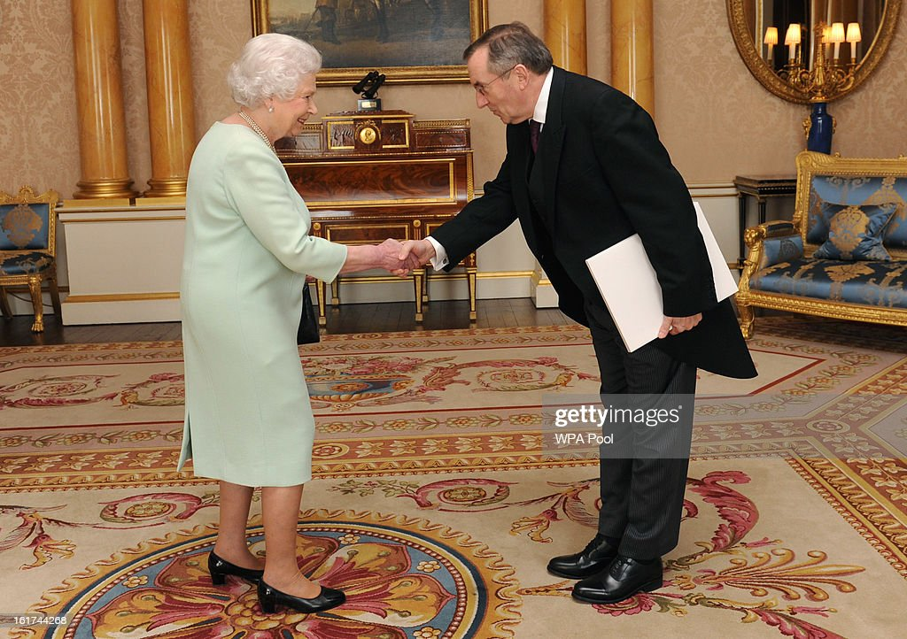 His Excellency Dr. Ivan Grdesic is received by Queen <a gi-track='captionPersonalityLinkClicked' href=/galleries/search?phrase=Elizabeth+II&family=editorial&specificpeople=67226 ng-click='$event.stopPropagation()'>Elizabeth II</a> at Buckingham Palace where he presented her with his credentials as Ambassador from the Republic of Croatia to the Court of St James's on February 15, 2013 in London, England.
