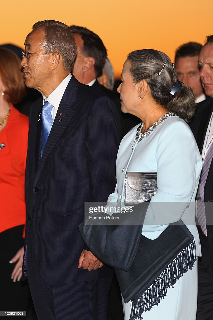 His Excellency Mr Ban Ki-moon, UN Secretary-General and his wife Yoo Soon-taek arrive at the War Museum on September 6, 2011 in Auckland, New Zealand. The annual gathering of leaders of the pacific nations has attracted heavyweight list of guests this year including United Nations Secretary General Ban Ki-moon, European Commission President Jose Manuel Barroso, the French Foreign Minister and the US Deputy Secretary of State. The forum conclusion coincides with the Opening Ceremony of the Rugby World Cup.