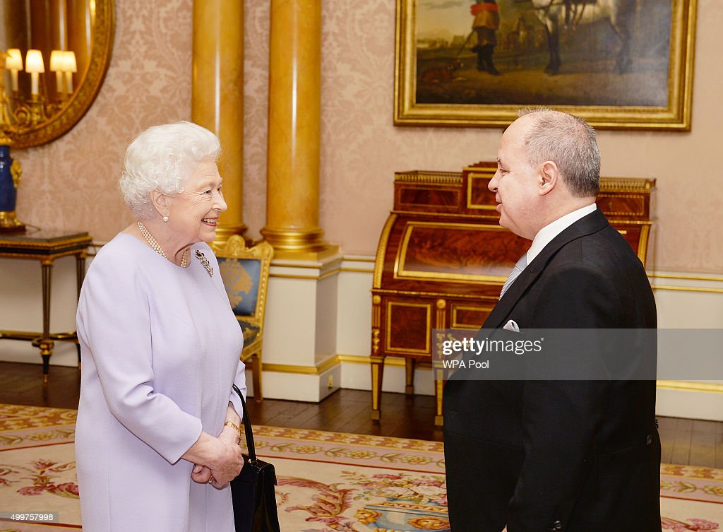 His Excellency Mr Eduardo dos Santos the Ambassador of Brazil, as he presents his credentials to Queen Elizabeth II in Buckingham Palace on December 3, 2015 in London, England.