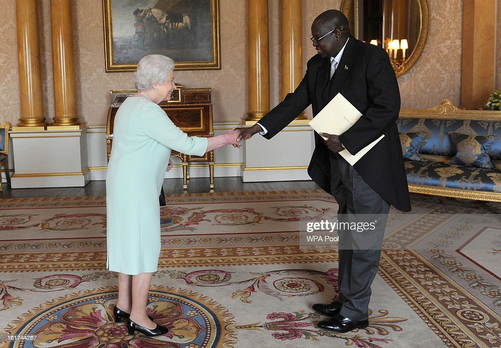 His Excellency Mr Sabit Abbe Alley is received by the Queen Elizabeth II at Buckingham Palace at Buckingham Palace where he presented her with his Letters of Credence as Ambassador from the Republic of South Sudan to the Court of St James's on February 15, 2013 in London, England.