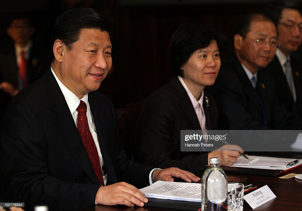 His Excellency Mr <a gi-track='captionPersonalityLinkClicked' href=/galleries/search?phrase=Xi+Jinping&family=editorial&specificpeople=2598986 ng-click='$event.stopPropagation()'>Xi Jinping</a>, Vice President of the People's Republic of China, attends talks with Prime Minister <a gi-track='captionPersonalityLinkClicked' href=/galleries/search?phrase=John+Key&family=editorial&specificpeople=2246670 ng-click='$event.stopPropagation()'>John Key</a> at Government House during the second day of his three day visit to New Zealand on June 18, 2010 in Auckland, New Zealand. The visit is intended to enhance economical and political relations between China and New Zealand following the signing of a free-trade agreement in 2008.