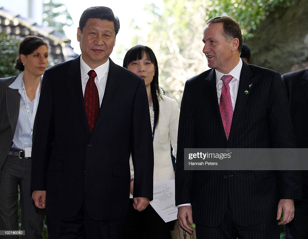 His Excellency Mr Xi Jinping, Vice President of the People's Republic of China walks with Prime Minister John Key after talks at Government House during the second day of his three day visit to New Zealand on June 18, 2010 in Auckland, New Zealand. The visit is intended to enhance economical and political relations between China and New Zealand following the signing of a free-trade agreement in 2008.