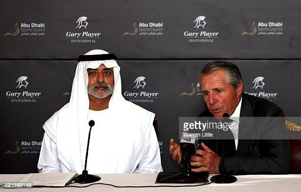 His Excellency Sheikh Nahyan Bin Mubarak Al Nahyan and Gary Player of South Africa address a press conference at the launch of the Gary Player...
