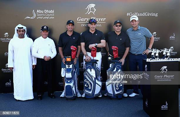 His Excellency Sheikh Nahyan Bin Mubarak Al Nahyan and Gary Player of South Africa present first prize to Christian Pertl Stuart Deeson Mark Rix and...