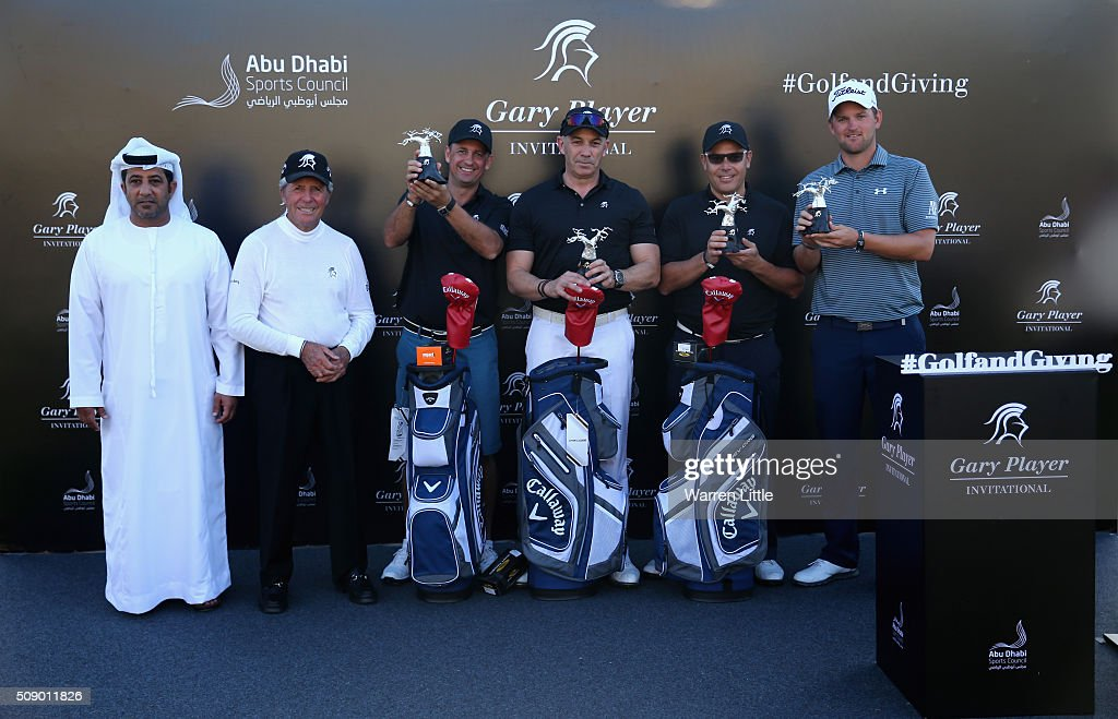 His Excellency Sheikh Nahyan Bin Mubarak Al Nahyan and Gary Player of South Africa present first prize to Christian Pertl, Stuart Deeson, Mark Rix and Bernd Wiesberger of Austria after the Gary Player Invitational Abu Dhabi at Saadiyat Beach Golf Club on February 8, 2016 in Abu Dhabi, United Arab Emirates.